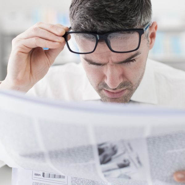 Reader suffering from presbyopia
